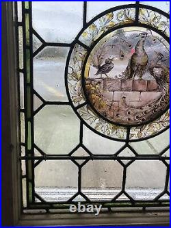 Antique English Hand Painted Leaded Stained Glass Window Victorian Era