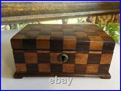 Antique English Mahogany Parquetry Victorian Box Hand Crafted Circa 1860 Signed