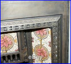 Antique Fireplace Inset Cast Iron With Lovely Vintage Hand Painted Tiles