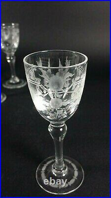Antique French Crystal Hand Engraved Birds Cordial Stem Liquor 6 Glass Victorian