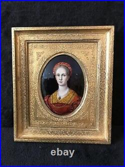 Antique French Limoges Hand Painted Miniature Plaque Enamel withWooden Frame-312e