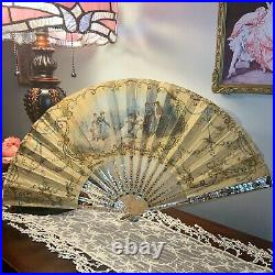 Antique French Signed Hand Fan