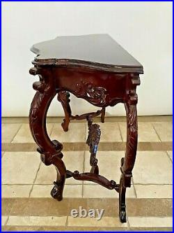 Antique French Victorian Entry Sofa Table Console Hand Carved Solid Mahogany