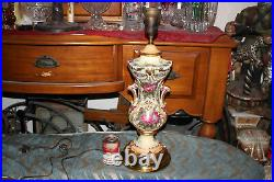 Antique French Victorian Hand Painted Colorful Floral Table Lamp-#1-Signed