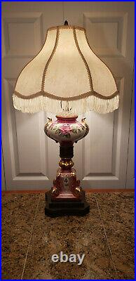 Antique French Victorian Hand Painted Colorful Floral Table Lamp Signed-LOVELY