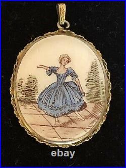 Antique French Victorian Hand Painted Porcelain Portrait Pendant Locket c. 1880s