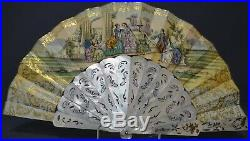 Antique French Victorian Napoleon III Pierced Gilt Mother of Pearl Hand Fan, 19C