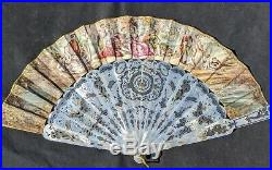 Antique French Victorian Pierced Mother of Pearl WithGilt Hand Fan in Original Box