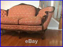 Antique French Victorian Sofa Hand Carved Wood SUPER Sturdy
