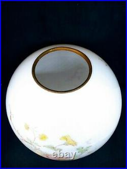 Antique GWTW Ball Globe Oil Lamp Parlor Shade Hand Stenciled Painted Flowers