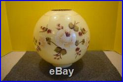 Antique GWTW Banquet Globe Oil Lamp Shade Victorian Hand Painted Floral 10