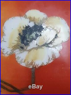 Antique GWTW Banquet Oil Lamp GLOBE Shade Victorian Hand Painted POPPY FLOWERS