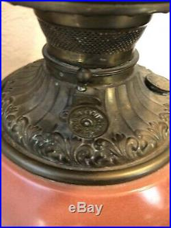 Antique GWTW Lamp Hand-painted Pink Red Flowers Globe Brass Base Victorian