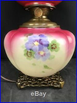 Antique GWTW Oil Lamp Pittsburgh Success Gone With The Wind Hand Painted Glass
