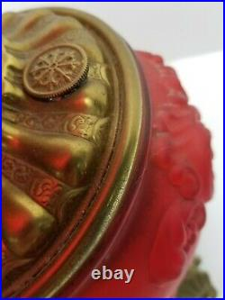 Antique GWTW Ruby Red Satin Rochester Gone Wind Globe Hand Painted Banquet Lamp
