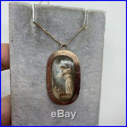 Antique Georgian 14k rose gold hand painted pendant brooch pin Victorian lady