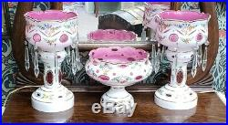 Antique German Cased Glass Pink White Hand Painted Lustre Lamp Garniture Bowl