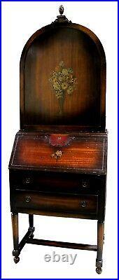 Antique Gimbel Brothers Hand Painted Mahogany Secretary