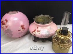 Antique Gone With the Wind Banquet Oil Lamp Hand Painted Victorian GWTW