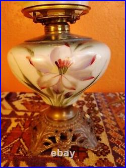 Antique Gone With the Wind Oil Lamp Light Victorian Hand Painted Purple / red