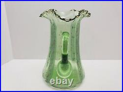 Antique Hand Blown & Hand Painted Ornate Victorian Floral Green Glass Pitcher