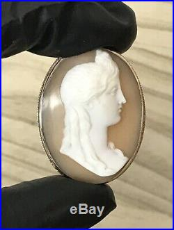 Antique Hand Carved 9ct Gold Shell Cameo Brooch Victorian Female Portrait