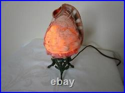 Antique Hand Carved Conch Seashell Cameo Lamp Nightlight Works Excellent