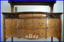 Antique Hand Carved Furniture Victorian Tiger Quartersawn Oak Sideboard Server