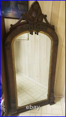 Antique Hand Carved Solid Wood 43 x 27 Wall Mirror