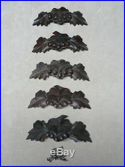 Antique Hand Carved Victorian Walnut Wood Drawer Pulls Set of 5 Grapes or Nuts