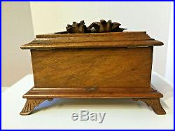 Antique Hand Carved Wood Victorian Box Pale Green Silk Tufted Interior