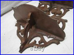 Antique Hand Carved Wooden Wall Trinket Shelf Walnut Wood Ornate Victorian