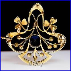 Antique Hand Constructed Sapphire & Pearl Late Victorian Brooch Pendant Pin