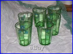 Antique Hand Enameled Paneled Green Pitcher 6 Tumblers Water Set Victorian