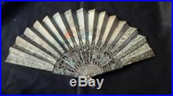 Antique Hand Fan Cloth Handpainted Victorian Ladies Ornate Open Work