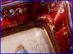 Antique Hand Painted Enamel Portrait Dish Copper Moorish Prince Victorian Signed