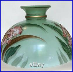 Antique Hand Painted Large Opaline Glass Lamp Shade (Oil Lamp)