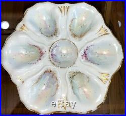 Antique Hand Painted Oyster Plate, Sailboat Water Scene, Gold Trim