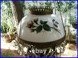 Antique Hand Painted VICTORIAN Hanging LAMP SHADE for GWTW, Parlour, Oli Lamp