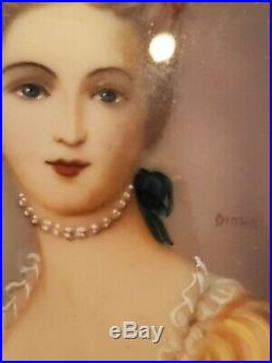 Antique Hand Painted Victorian Portrait Painting Young Lady Signed Dinane