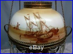 Antique Hanging B & H Light Hand Painted Boat Windmill Library Chandelier Copper