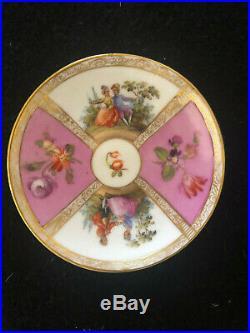 Antique Helena Wolfsohn Dresden Hand Painted Lidded Cup And Saucer