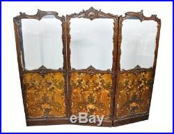 Antique Italianate Victorian Hand Painted Leather Floor Screen