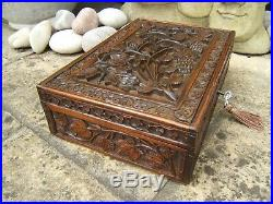 Antique Jewellery Box 19c Hand Carved Anglo Indian Fab Interior