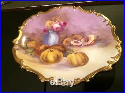 Antique L. R. L. Limoges Hand Painted 15 1/2 Charger Roses Peaches Artist Signed