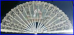 Antique Lace Hand Painted Fan Mother Of Pearl Lace Silk Framed