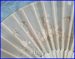 Antique Ladies Hand Fan Embroidered Silk in Gilded Gesso Frame