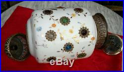 Antique Lantern Lamp Jewelled Glass Victorian Rise & Fall Hand Enamelled