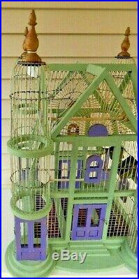 Antique Large Hand Crafted Victorian 4 Turrets Wood And Wire Bird Cage W Feeders