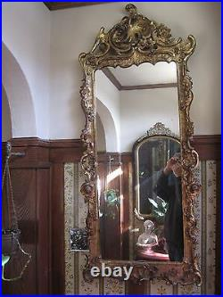 Antique Large Wall Mirror 19th century Hand Carved Floral Gold Gesso 54 Tall